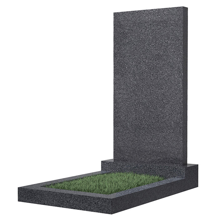 Памятник прямоугольный вертикальный 1000*500*50 (темно-серый гранит) в Томске