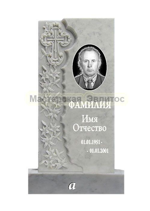 Мраморный памятник с крестом и цветами лилии №89