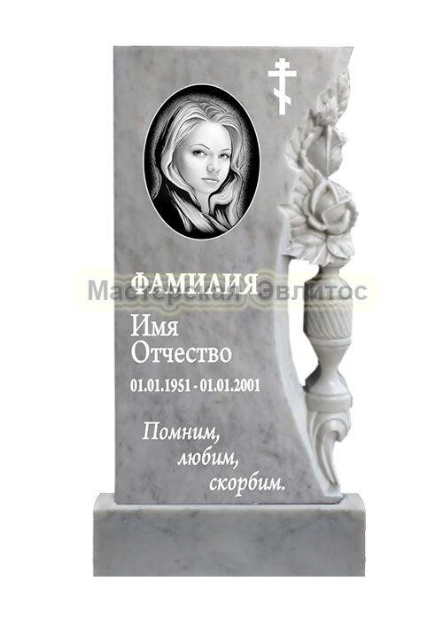 Мраморный памятник с розами в вазе №80