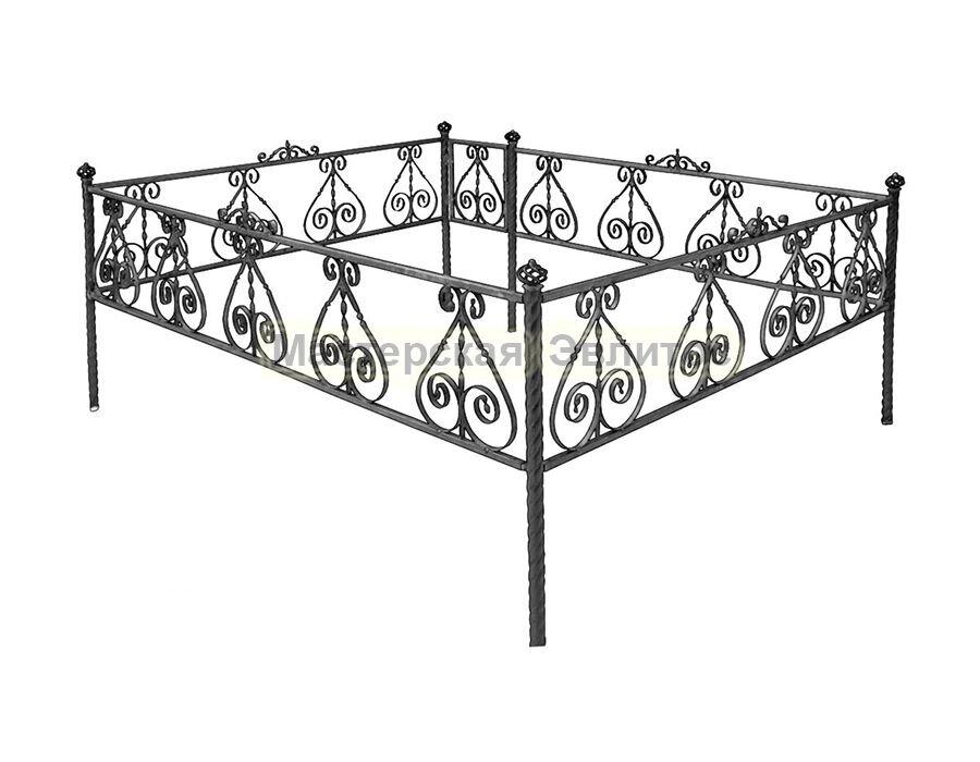 Металлическая ограда Т1 (размер 2х2,5 м.п., черный полимер) в Томске