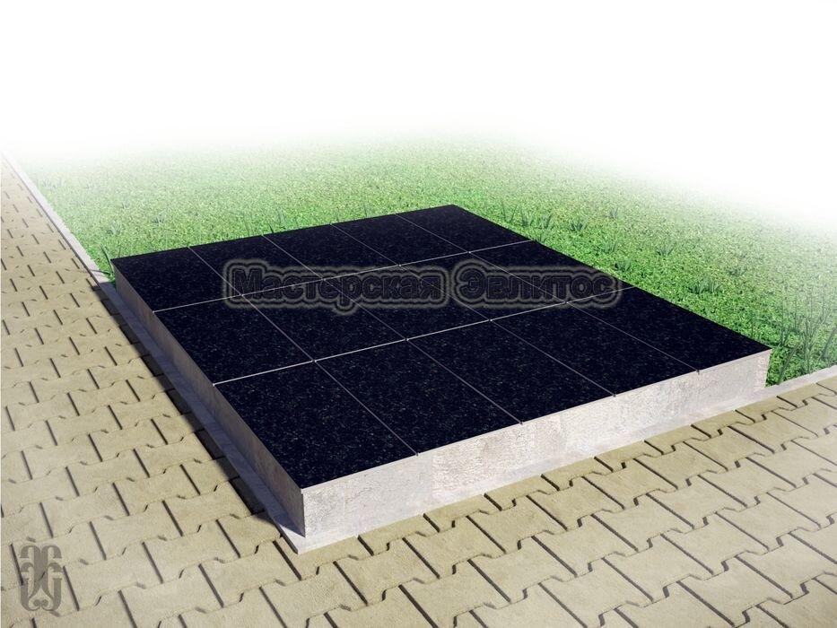 Надгробие из черного гранита №11 - 1800х1500х150 мм в Томске