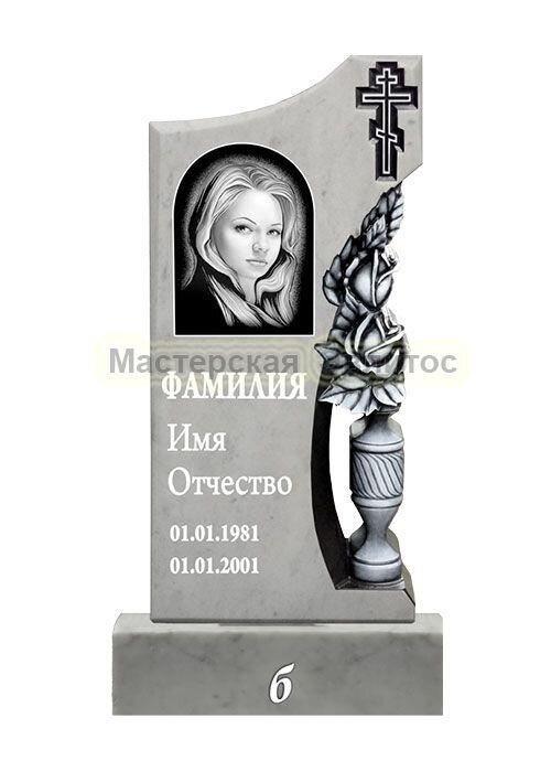 Фрезерованный памятник из мрамора Цветы 5Б