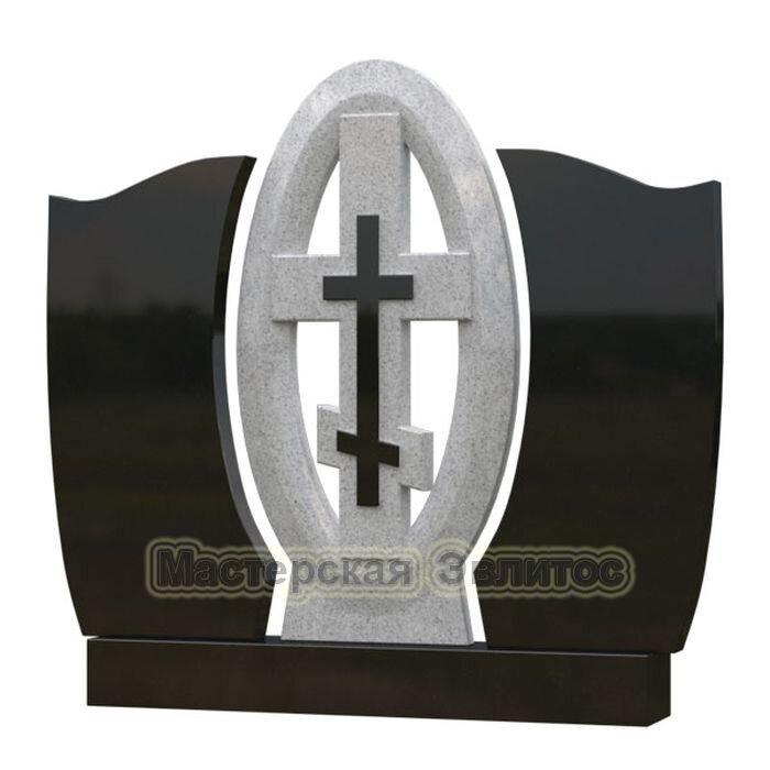 Памятник из гранита СК-Овал с крестом
