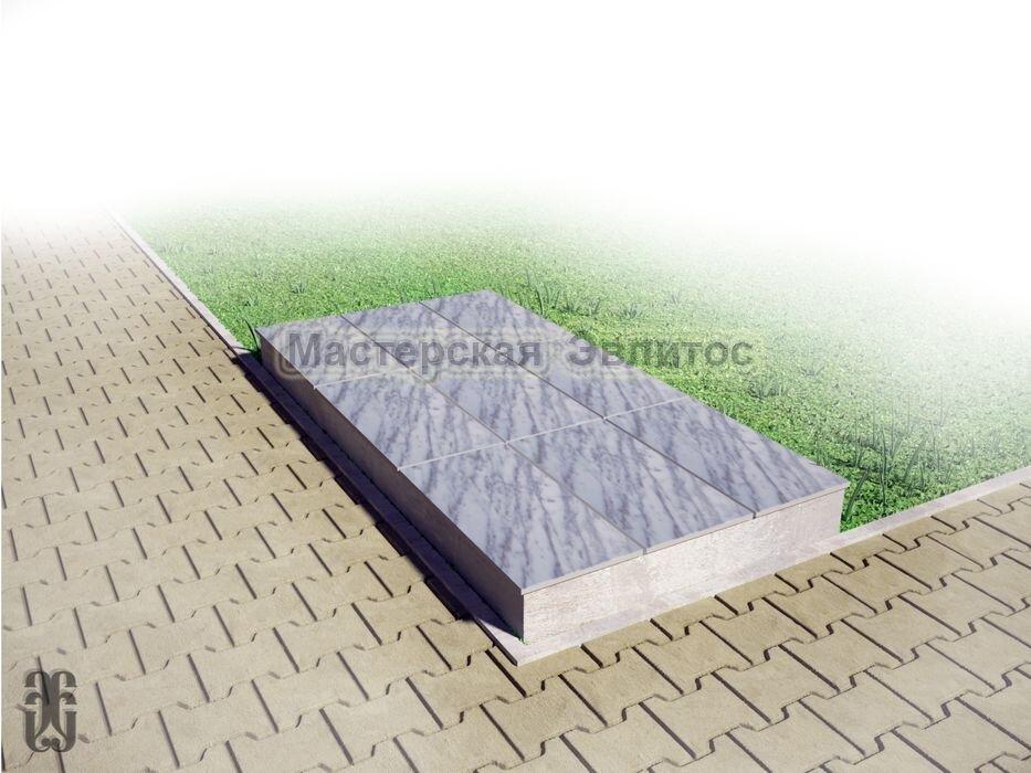 Надгробие из серого мрамора №3 - 1800х900х150 мм в Томске