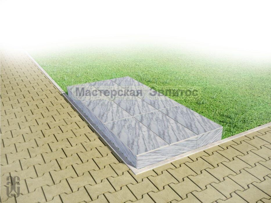 Надгробие из серого мрамора №4 - 1800х900х150 мм в Томске