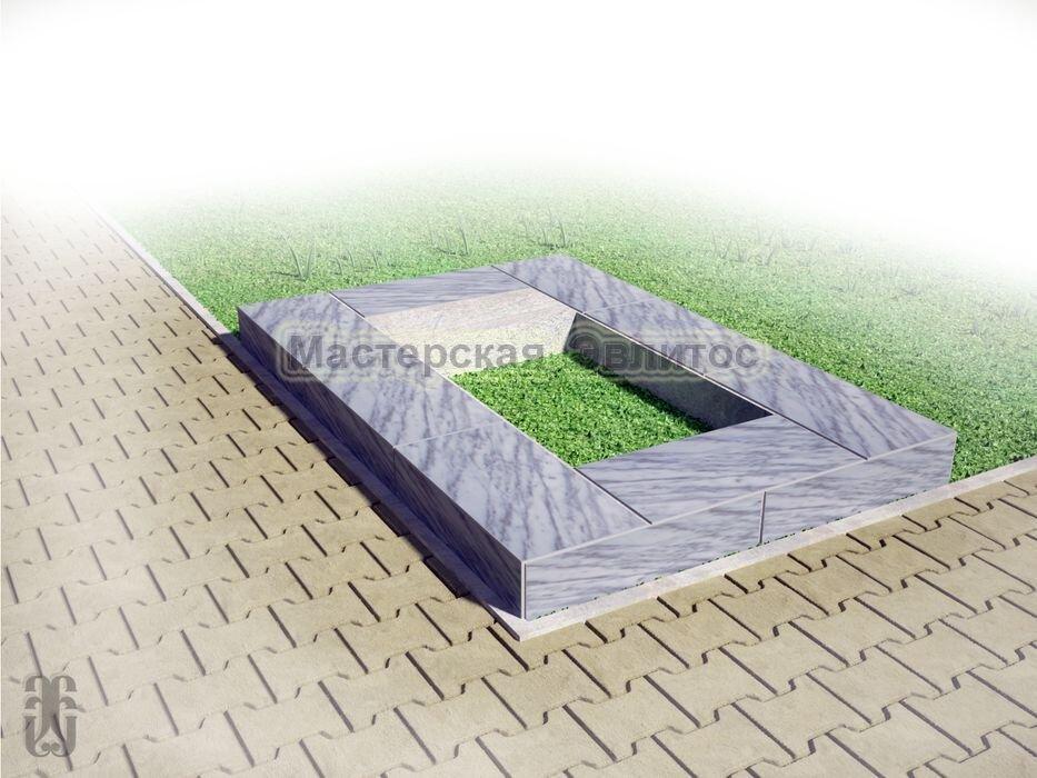 Надгробие из серого мрамора №6 - 1800х1200х150 мм в Томске