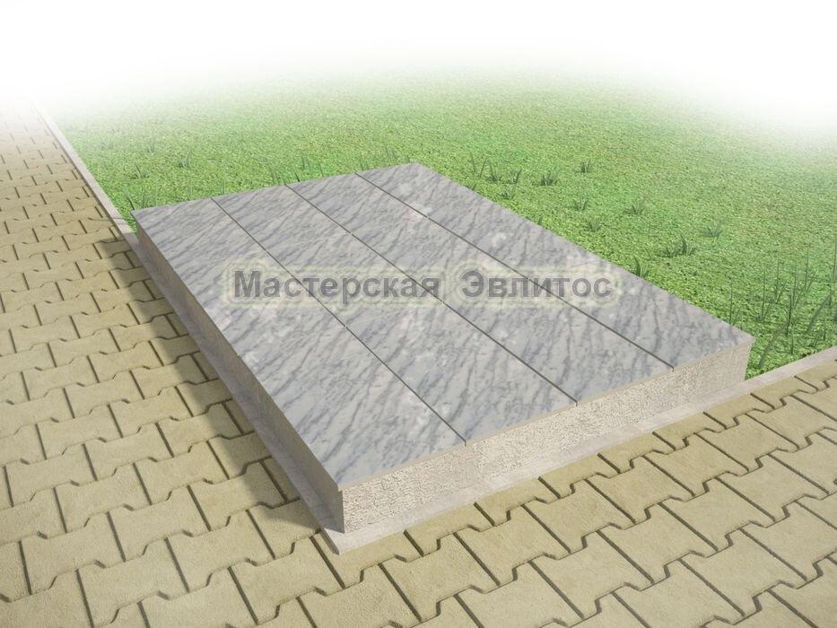 Надгробие из серого мрамора №7 - 1800х1200х150 мм в Томске