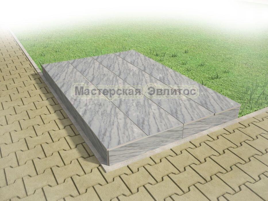 Надгробие из серого мрамора №8 - 1800х1200х150 мм в Томске