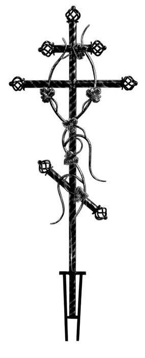 Металлический Крест с ковкой из витой трубы в Томске