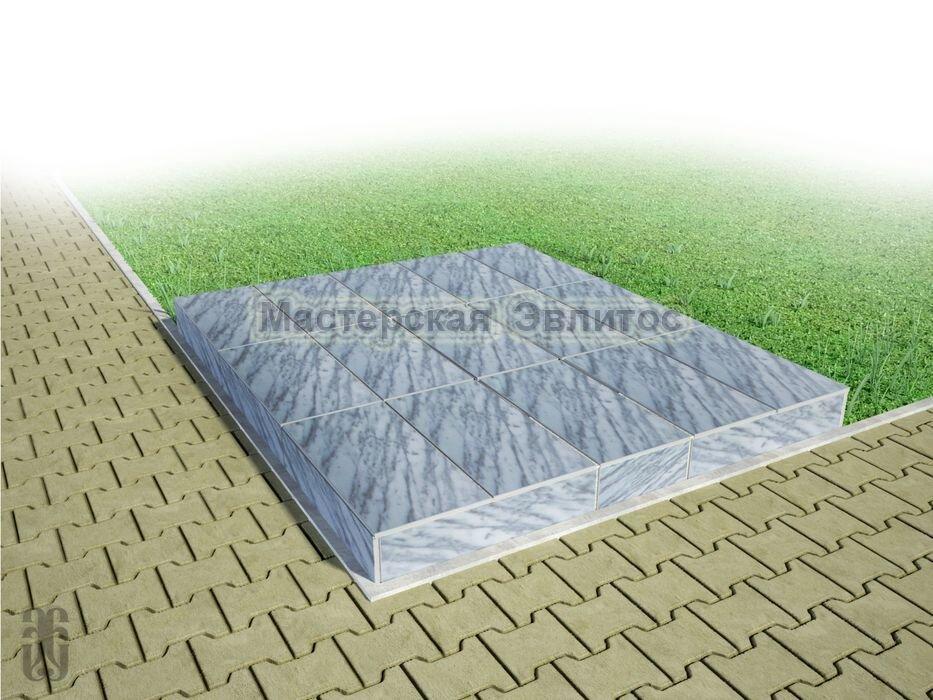 Надгробие из серого мрамора №12 - 1800х1500х150 мм в Томске