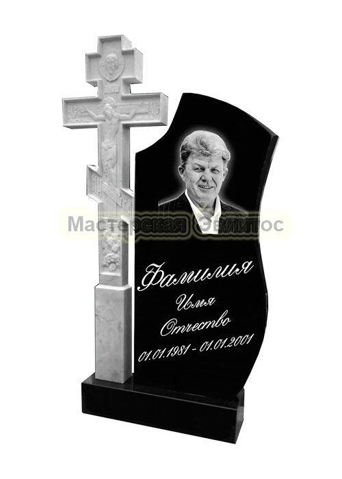 Гранитный памятник Крест 12 гранит + мрамор (фрезерованный) в Томске