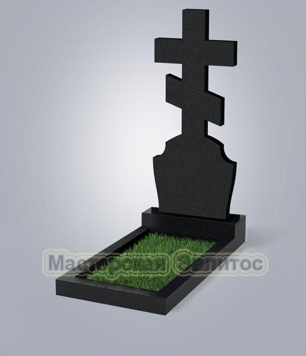 """Крест класса """"эконом"""" №40 (черный гранит Карелия)"""