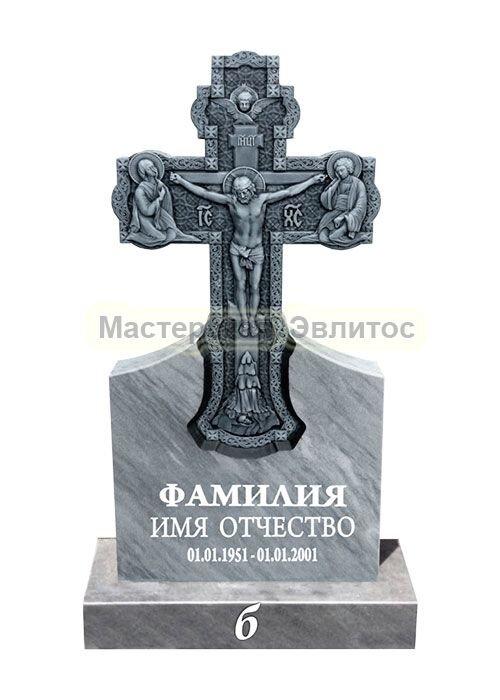 Фрезерованный памятник из мрамора Крест 1Б