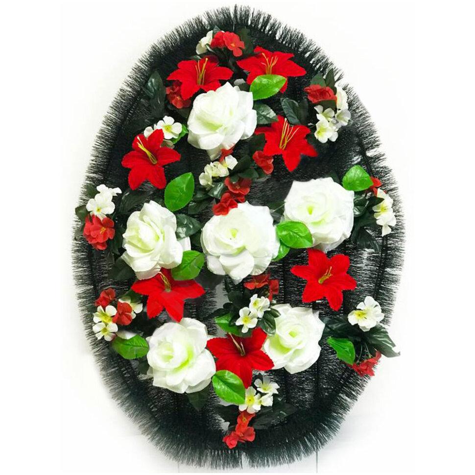 """Венок ритуальный """"Розы с бархатными лилиями"""" овальный в Томске"""
