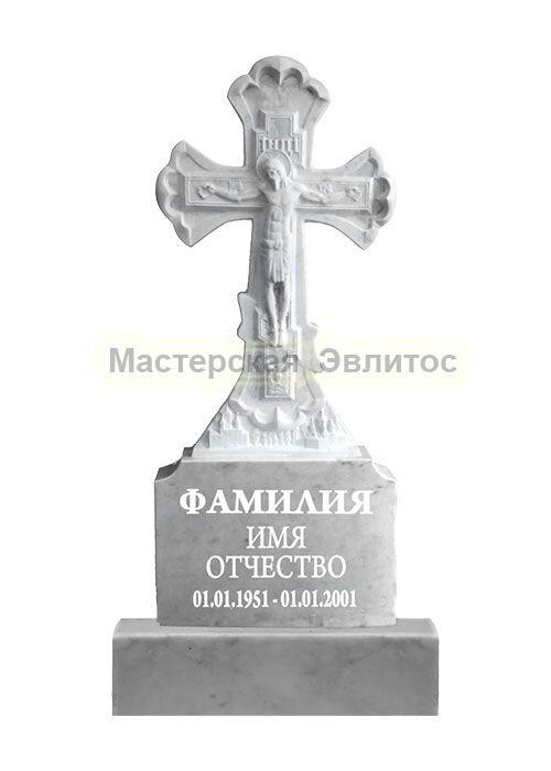 Памятник из мрамора Крест 3 (фрезерованный) в Томске